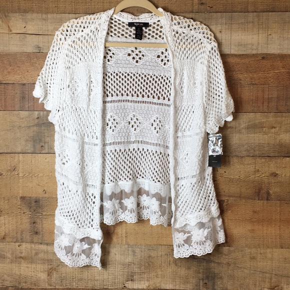 Style Co Sweaters Style Co White Lace Crochet Cardigan Shrug New